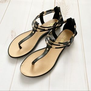NWOT Report Black and Gold Sandals - Women's 8